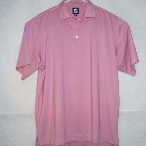 FootJoy Mens Polo Shirt Stripes Pink Size L
